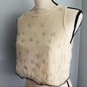 Jeweled Embroidered Crop Top
